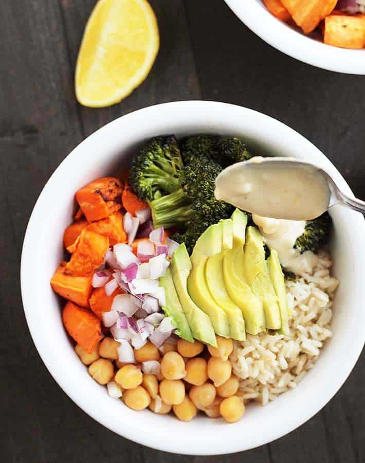 Sweet Potato Broccoli Chickpea Bowls