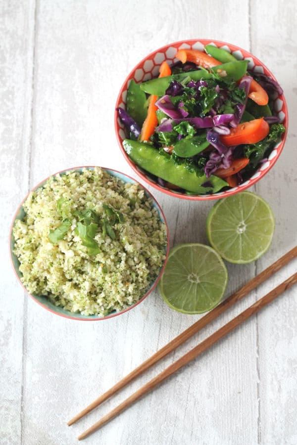 Thai Broccoli & Cauliflower Rice with Stir Fried Veggies