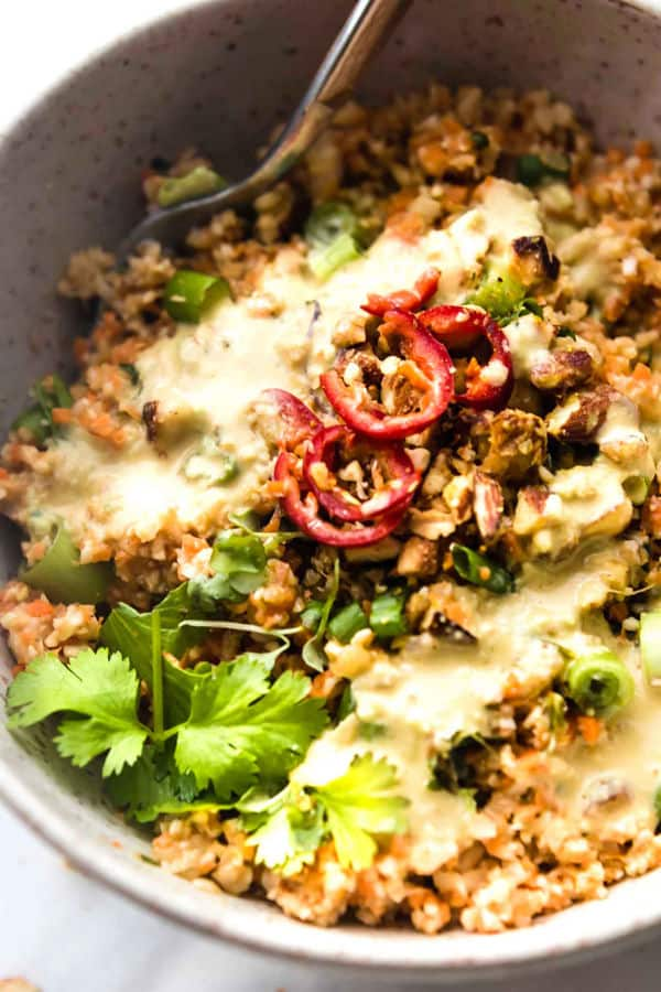 Thai Carrot Cauliflower Rice Salad with Avocado Cream Dressing
