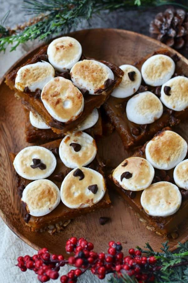 Vegan Chai Sweet Potato S'Mores Bars
