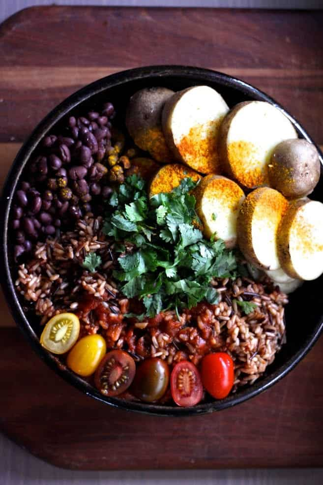 Wild Rice with Black Beans, Cherry Tomatoes + Steamed Potatoes