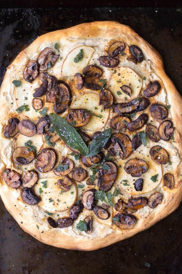 Apple, Sage and Mushroom Pizza with Ricotta