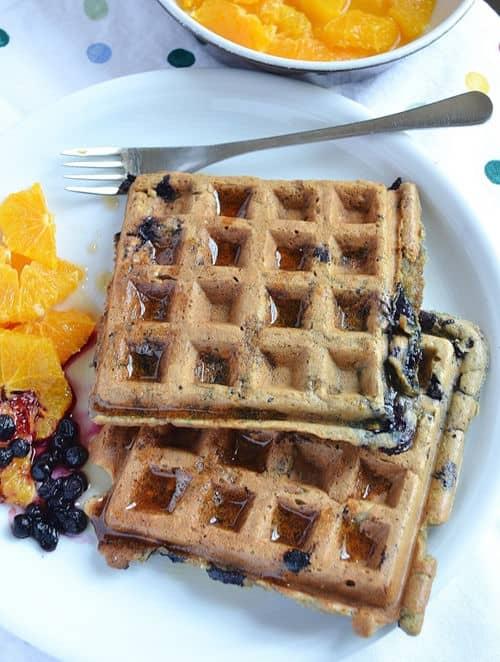 Blueberry-Orange Buckwheat Waffles