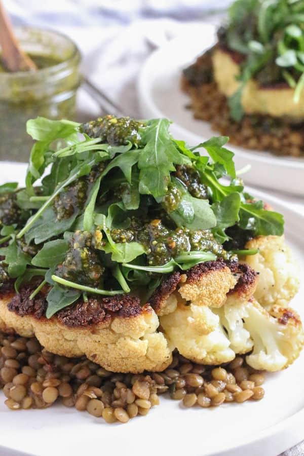 Cauliflower Steaks with Lentils and Pistachio Mint Pesto