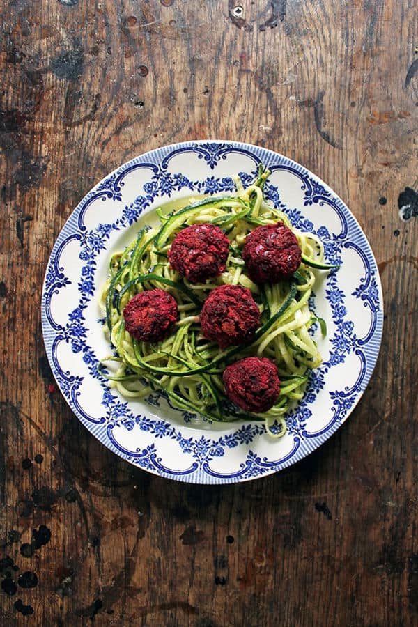 Courgetti and Beet Balls