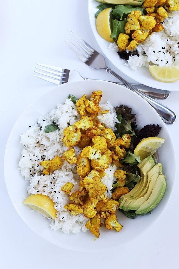 Curry Roasted Cauliflower Over Rice
