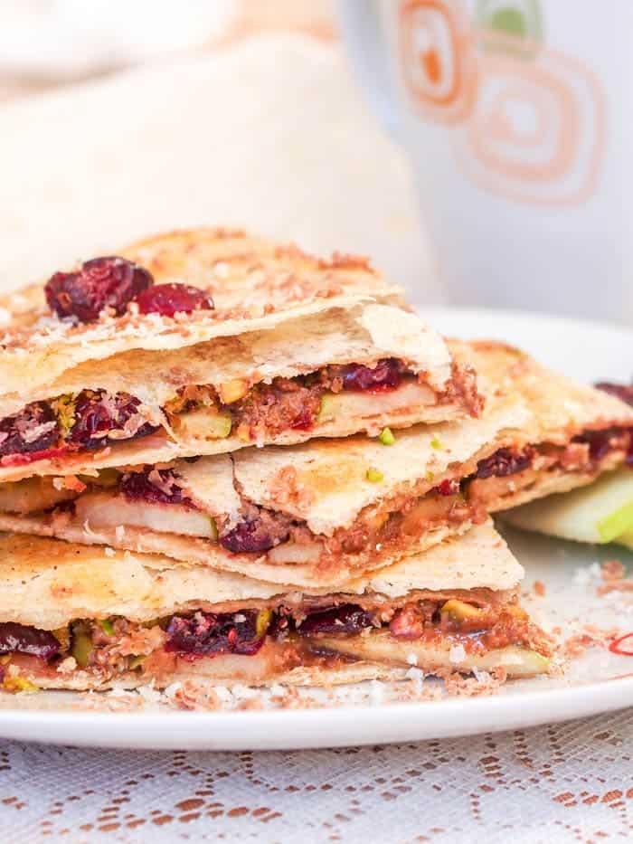 Dessert Quesadillas with Cranberry, Pistachio and Coconut