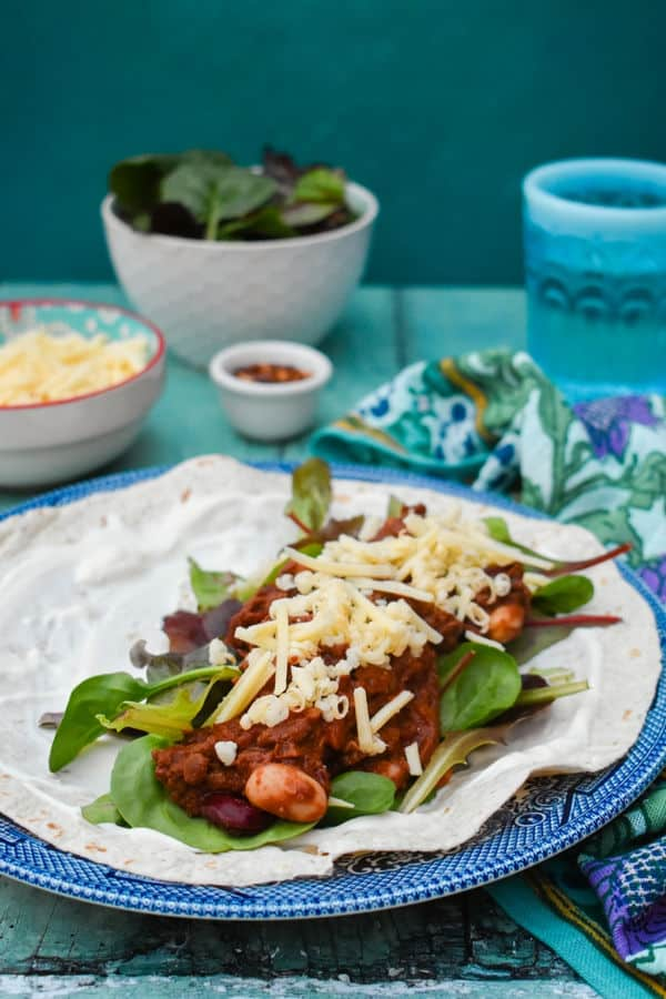 Easy Chilli Mince Bean Wraps