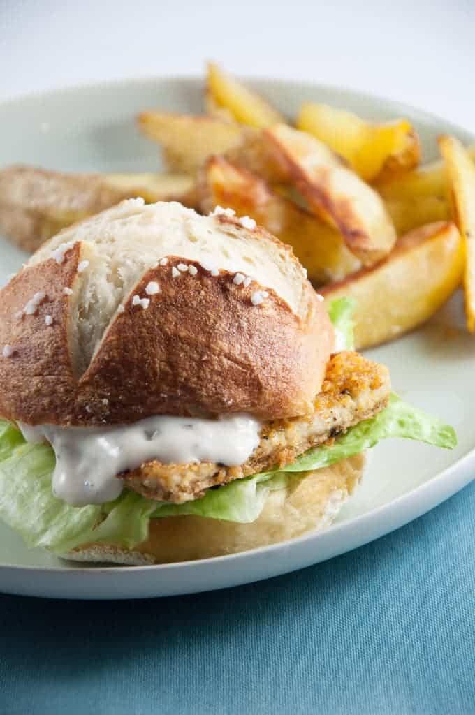 Fish Burger with Homemade Pretzel Rolls