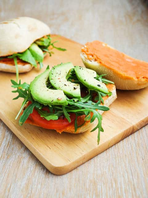 Italian Red Pepper Hummus Sandwich