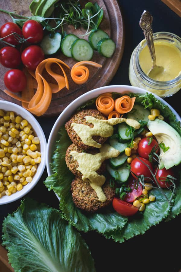 Oven Baked Falafel With Cashew Cheese Sauce