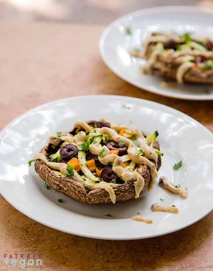 Portobello Mushroom Pizzas with Hummus