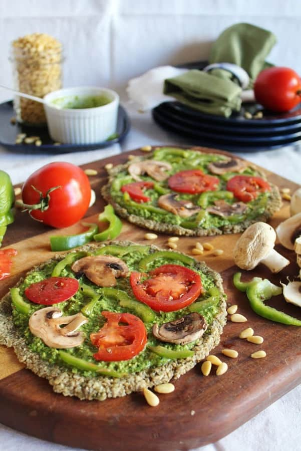 Raw Pizza with Spinach Pesto and Marinated Vegetables