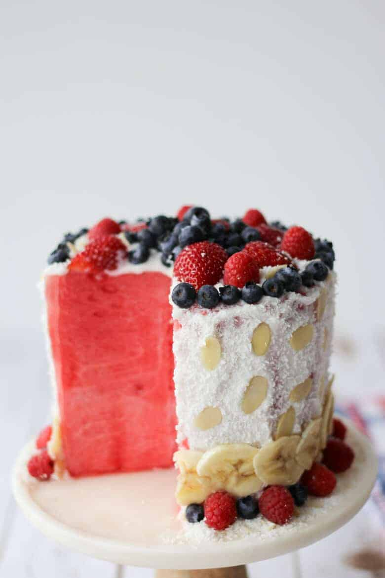 Red, White and Blue Vegan Watermelon Cake
