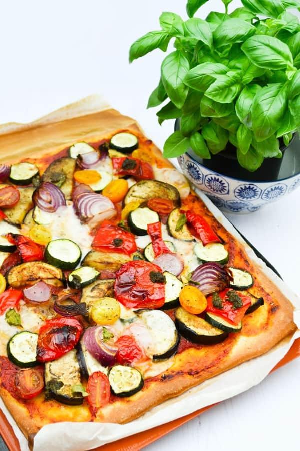 Roast Vegetable, Pesto and Cream Cheese Pizza Recipe