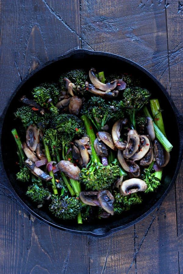 Roasted Broccolini and Sautéed Mushrooms (Gluten-Free)