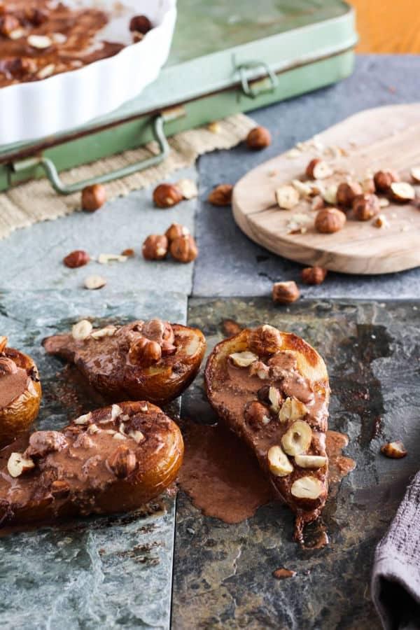 Roasted Pears with Dark Chocolate Hazelnut Sauce