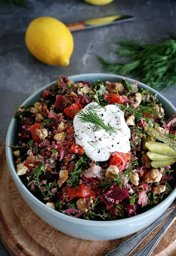 Russian Style Quinoa Salad with Winter Vegetables