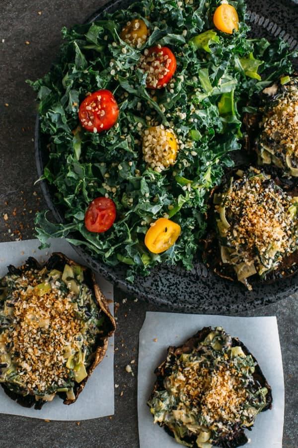 Spinach and Artichoke Stuffed Portabellas