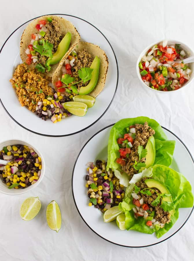 Street Tacos with Spanish Fried Quinoa and Black Bean Salad