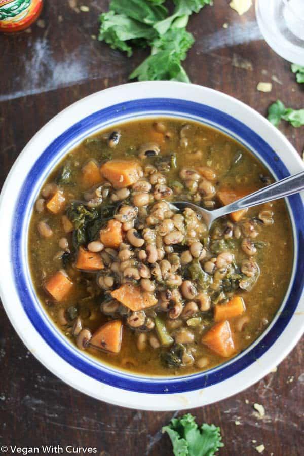 Sweet Potato Kale Black Eyed Pea Soup