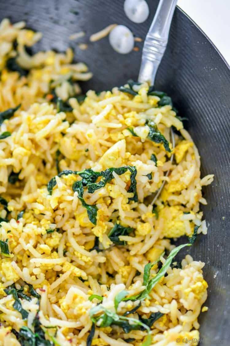 Tofu Scramble Kale Fried Rice