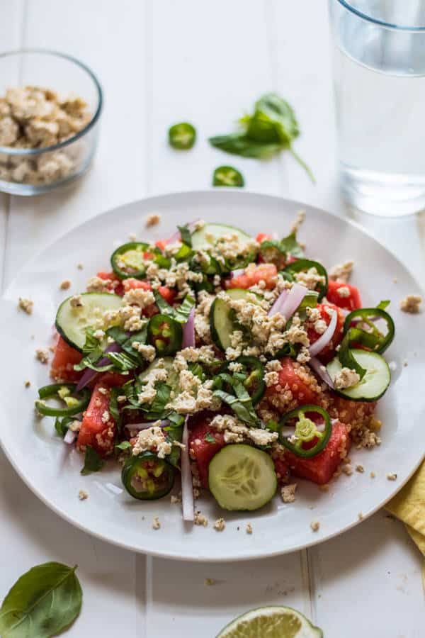 Watermelon Salad with Quinoa and Herbed Tofu Feta
