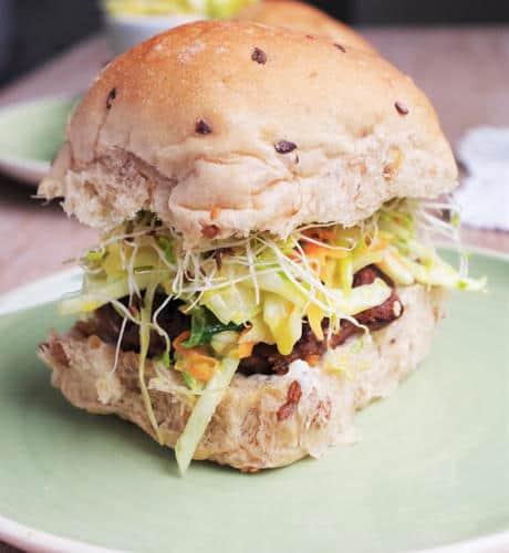 Asian Bean Burgers & Wasabi Slaw (Gluten-Free)