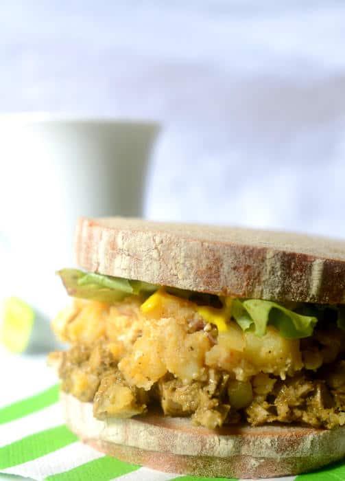 Avocado Chicken and Potato Salad Sandwich on Rye