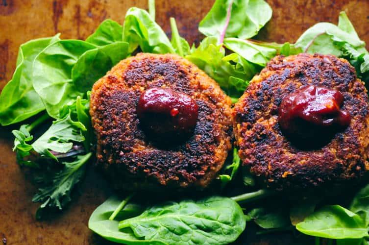 BBQ Chickpea Walnut Burgers (Gluten-Free)