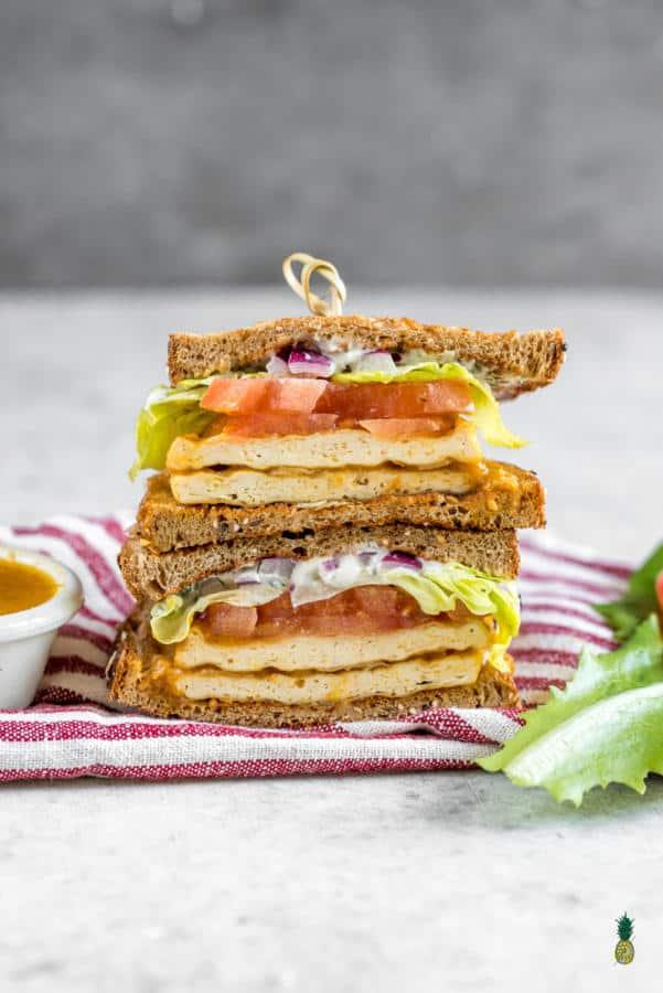 Buffalo Tofu Sandwich with Homemade Ranch