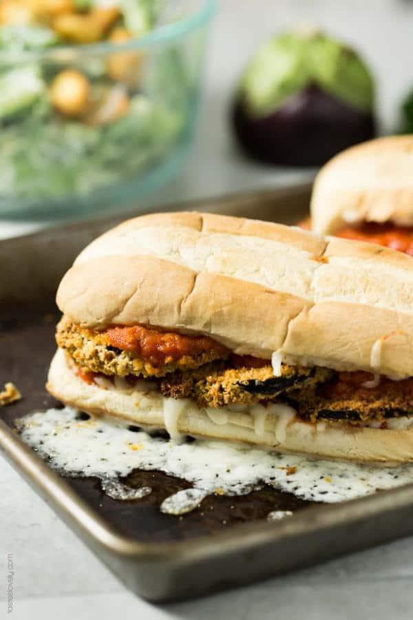 Crunchy Baked Eggplant Sandwich Melts