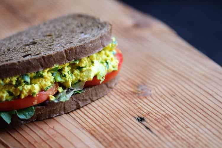 Eggless Tofu Salad Sandwich