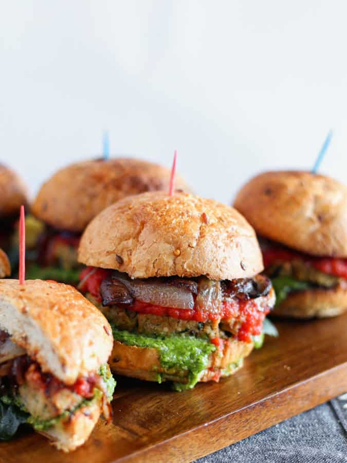 Grilled Tempeh Sliders with Pesto Spread