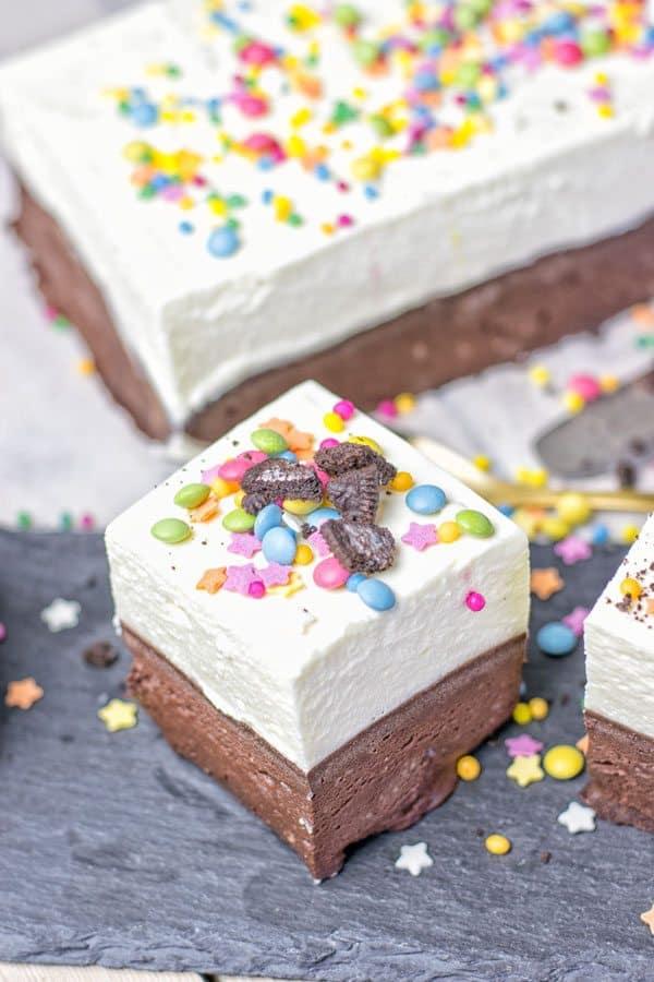 Oreo Brownie Bottom Funfetti Cake