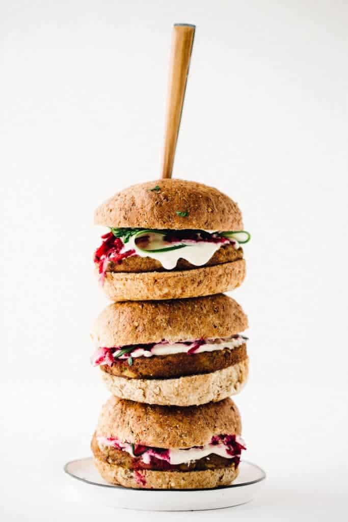 Power Burger with Beet Slaw and Horseradish Sauce