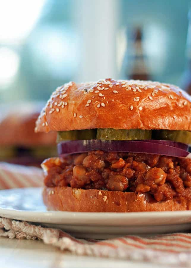 Slow Cooker BBQ Chickpea Sloppy Joes