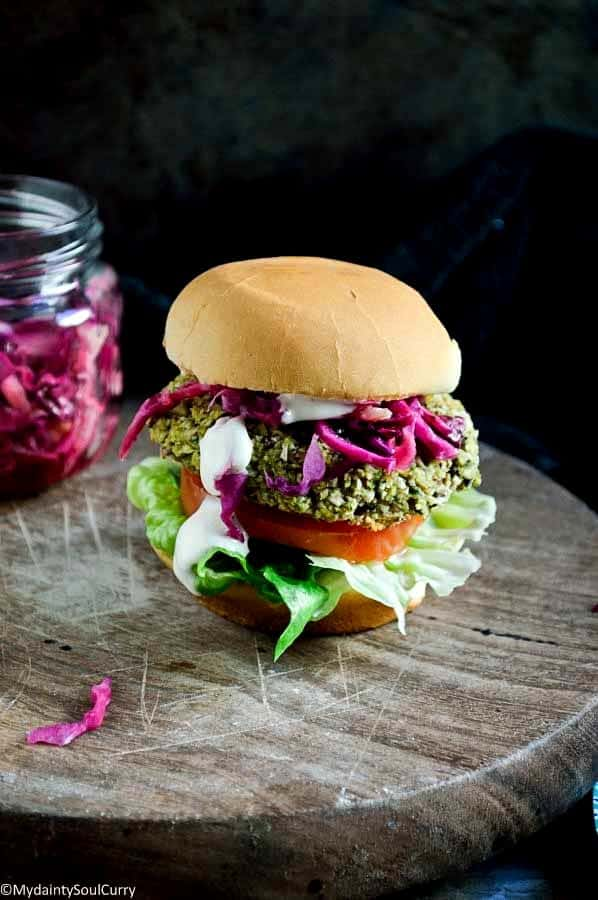 Spicy Lentil Veggie Burger with Pickled Cabbage
