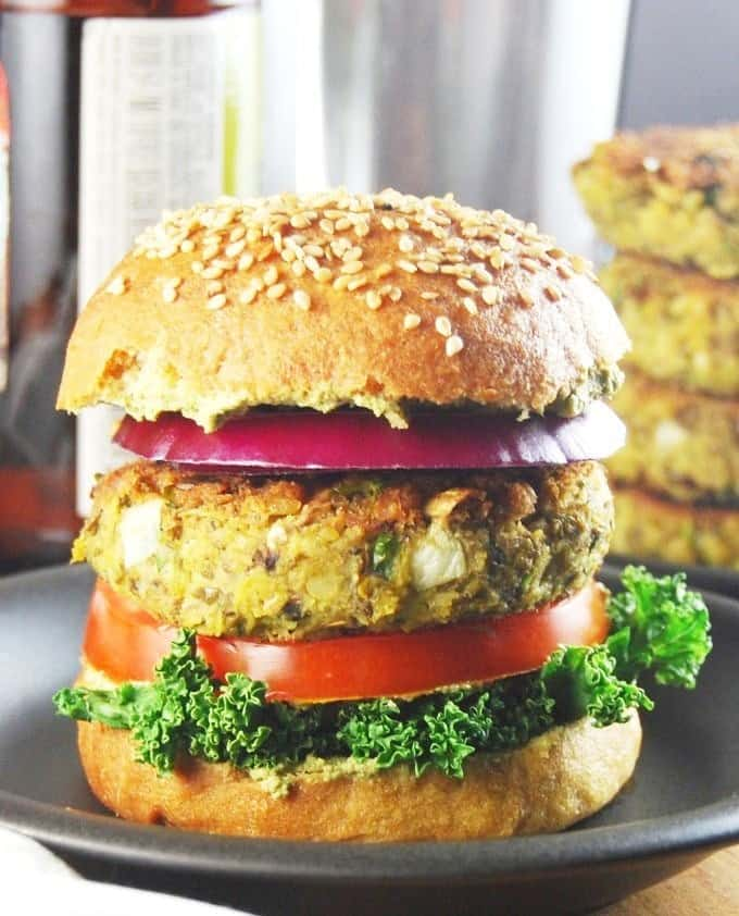 Sprouted Mung Bean Burger with Mint-Cilantro Chutney
