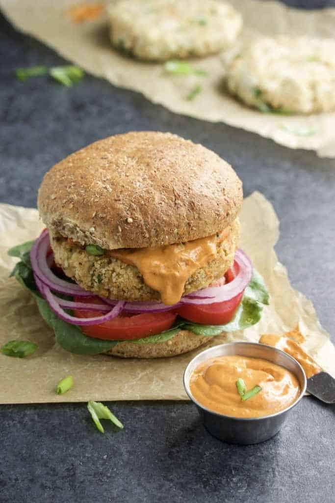 Vegan Crab Cake Burgers with Spicy Chipotle Cream Sauce