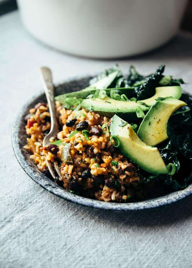 Black Beans and Rice with Roasted Poblanos and Garlic