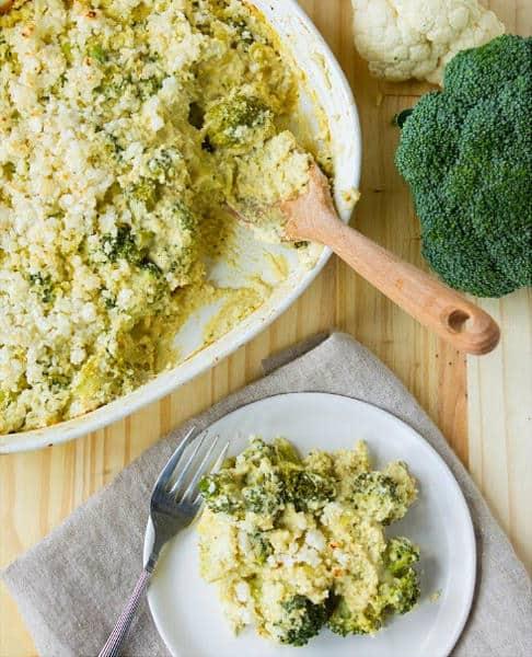 Broccoli and Cauliflower Rice Hemp Casserole