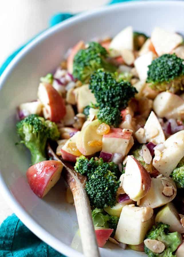 Broccoli Apple Salad with Creamy Lemon-Tahini Dressing