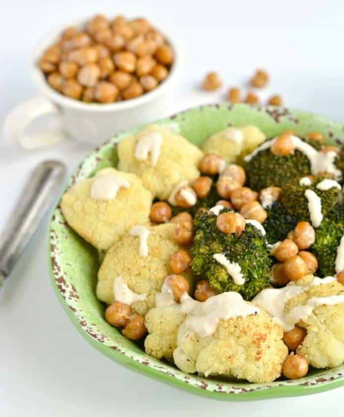 Broccoli Cauliflower Chickpea Bowl with Tahini Lemon Sauce