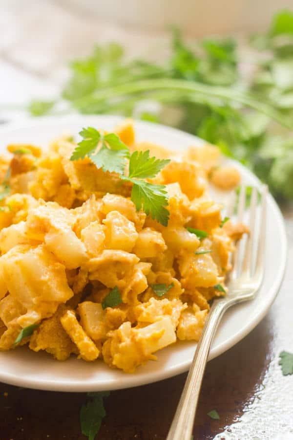 Cheesy Vegan Corn Flake Potato Casserole