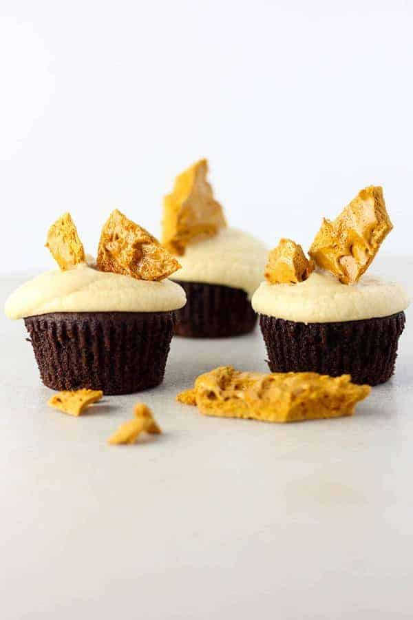 Chocolate Cupcakes with Caramel Frosting and Hokey Pokey