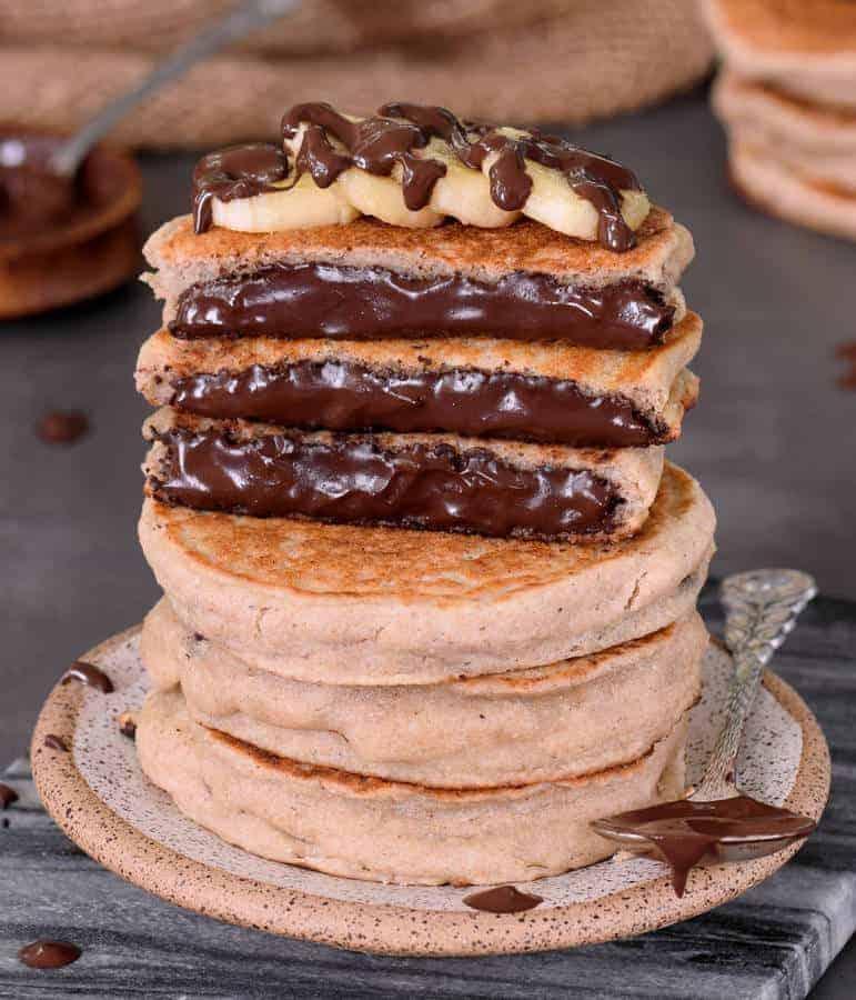 Chocolate Stuffed Pancakes (Gluten-Free)