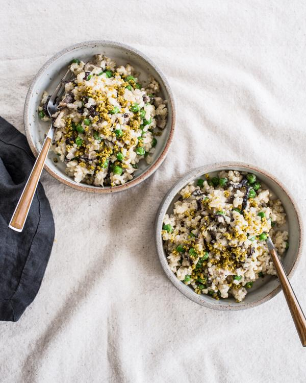 Creamy Brown Rice with Shiitakes & Peas