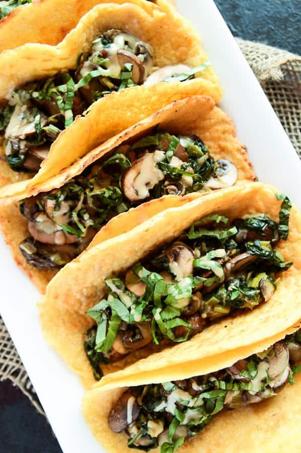 Crêpe Tacos with Warm Spinach-Mushroom Filling
