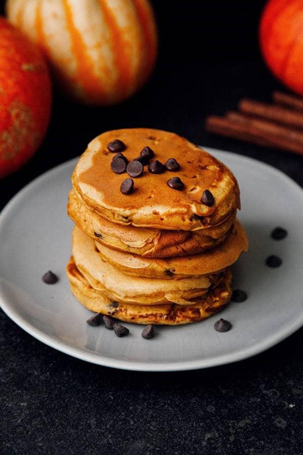 Fluffy Pumpkin Chocolate Chip Pancakes